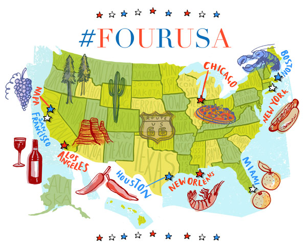 USA Launch Map Illustration - Highlight us map
